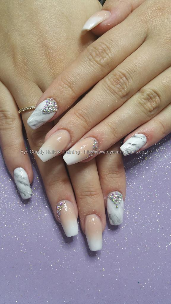 Dev Guy - Baby Boomer Faded French With Marble Nails And Swarovski ...
