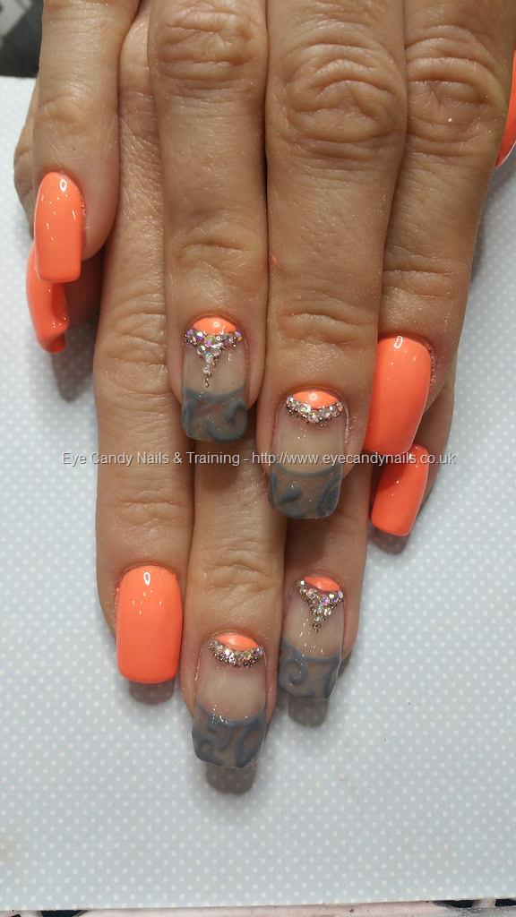 Social Build - Neon Peach With Grey Lace Tips And Swarovski Crystals ...