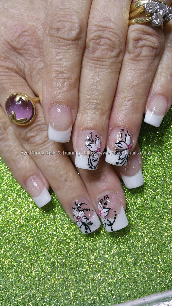 Social Build White French Polish With One Stroke Flower Nail Art