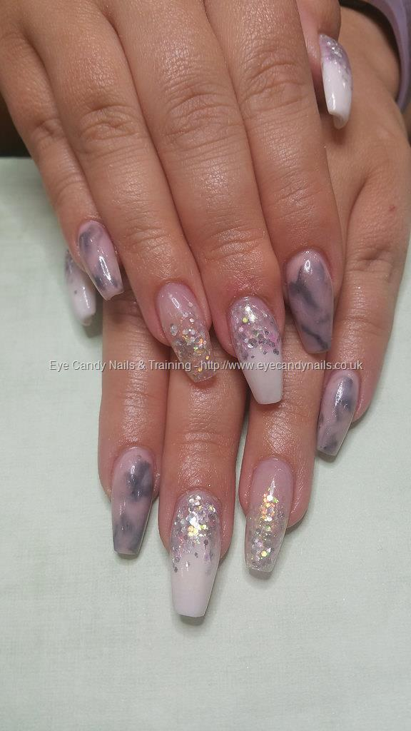 Dev Guy Pink And Grey Marble With Ombre Fade And Glitter Acrylic Nail Art Nail Technician Elaine Moore On 6 July 2017 At 14 54