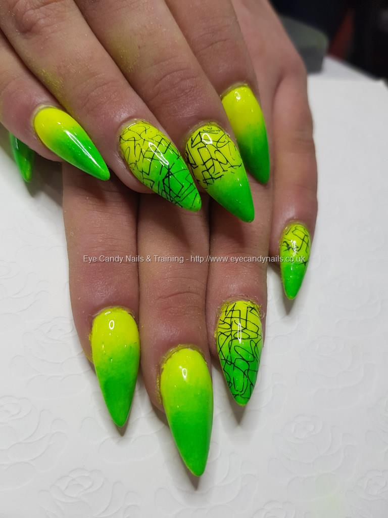 Dev Guy Neon Yellow And Green Pigments With Stamping Nail Art