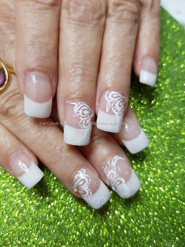 Social Build - White French Polish With Free Hand Lace Nail Art ...