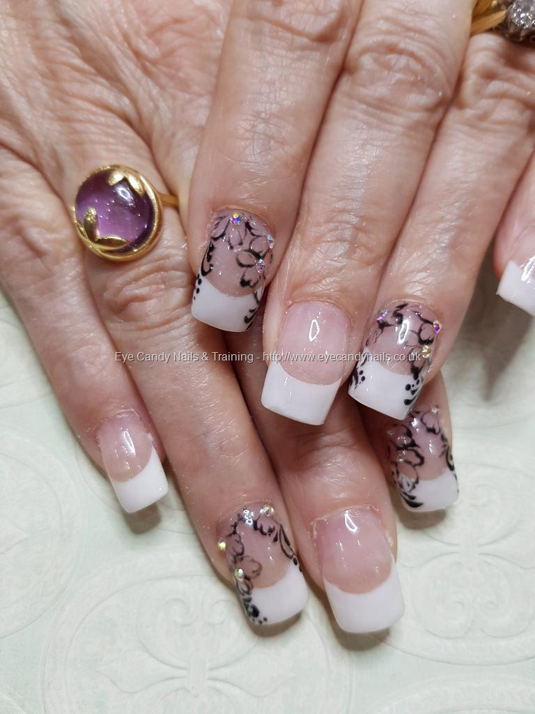Social Build - White French Tips With Black Free Hand Flower Nail ...