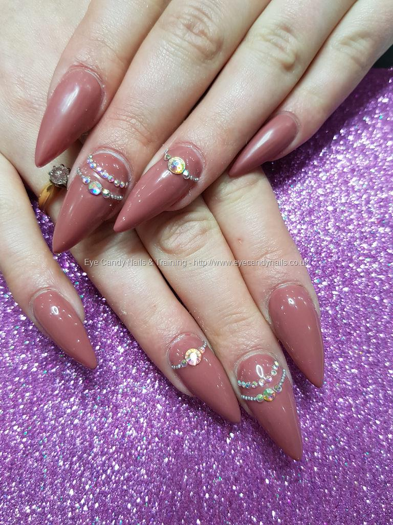 Dev Guy Mauve Over Gel Polish With Crystal Nail Art Nail
