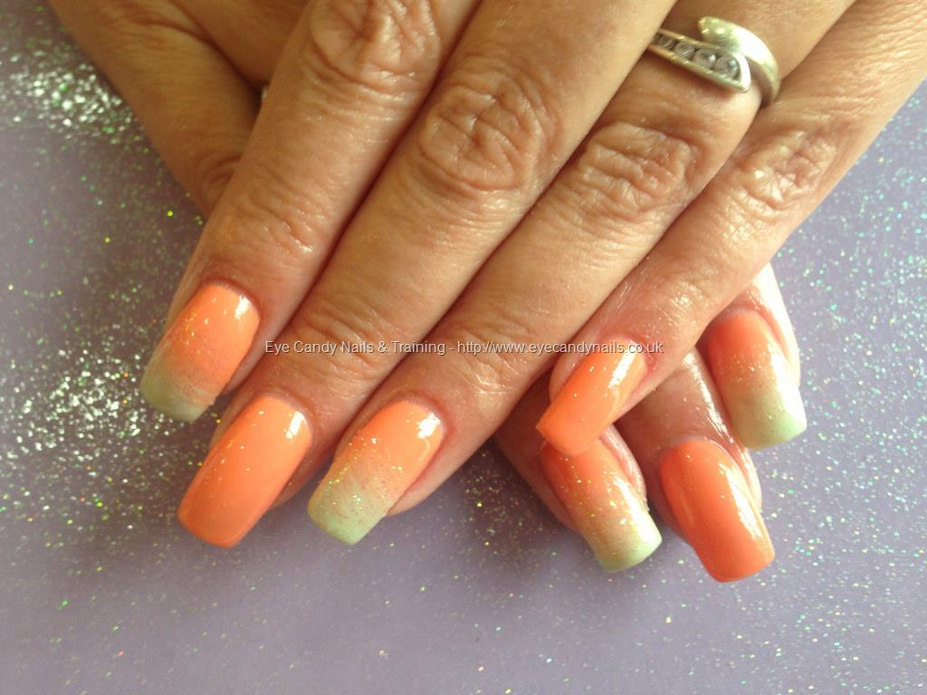 Social Build - Acrylic Nails With Orange And Green Gel Polish Colour ...