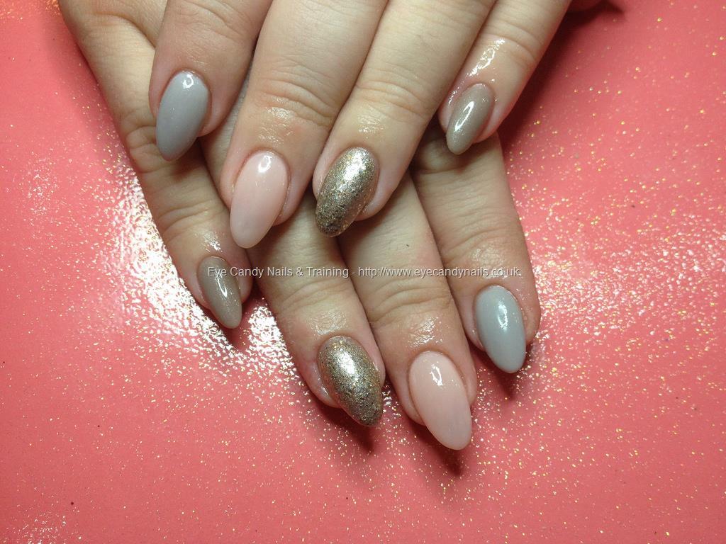 Social Build - Acrylic Nails With Grey, Pink And Gold Gel Polish ...