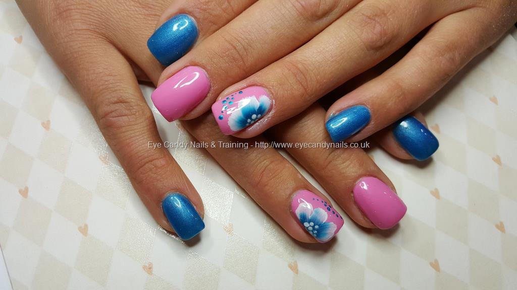 Dev Guy Acrylic Nails With Blue And Pink Gel Polish With One Stoke